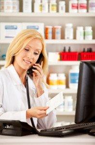 Pharmacist on Phone Stock Photo - AlphaScript